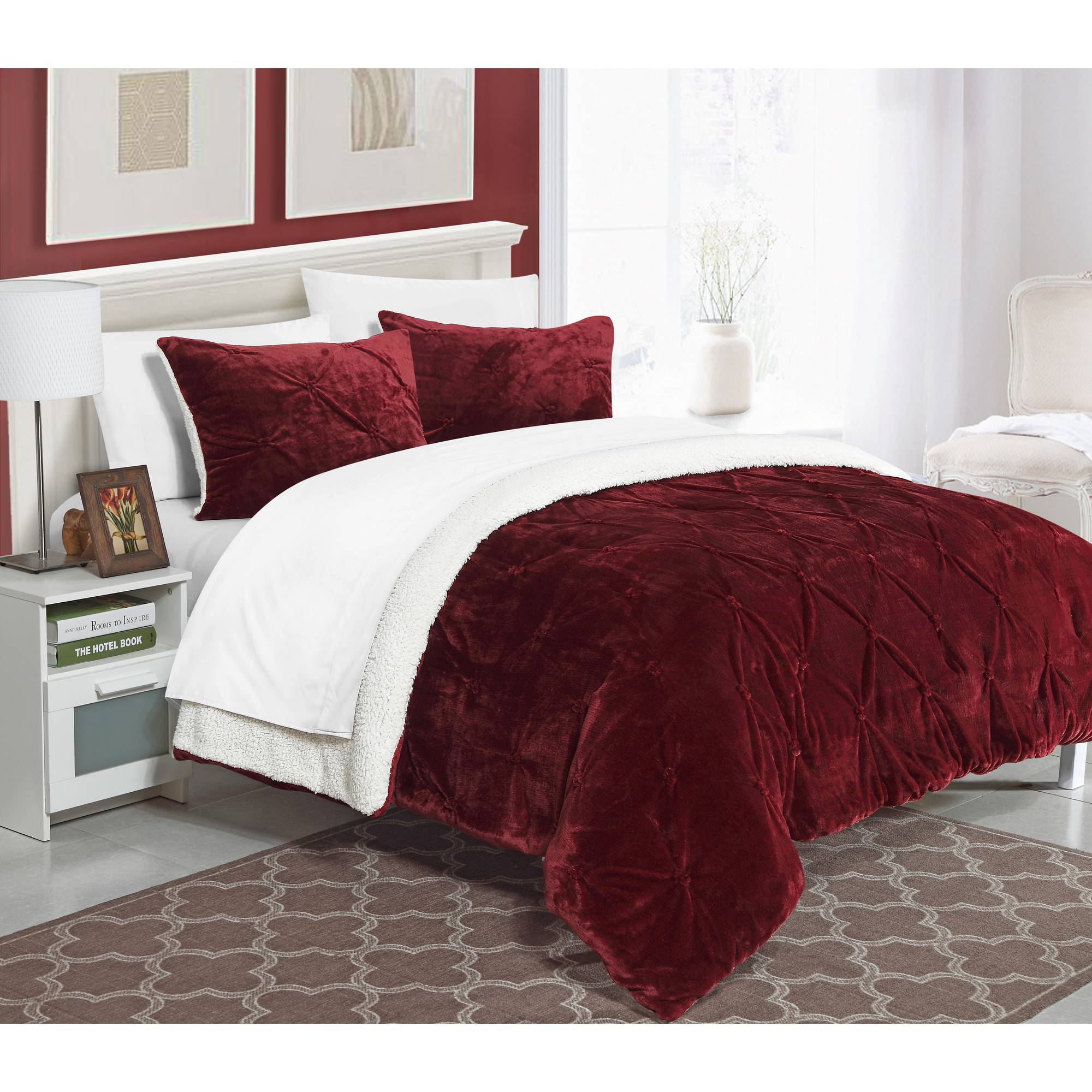 chic home 3 piece chiara pinch pleated ruffled and pin tuck sherpa lined queen bed in a bag comforter set burgundy