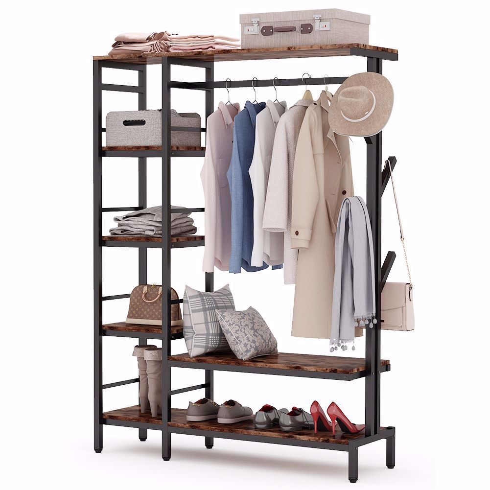 tribesigns free standing closet organizer with hooks heavy duty clothes storage garment rack with shelves and hanging rod metal closet storage