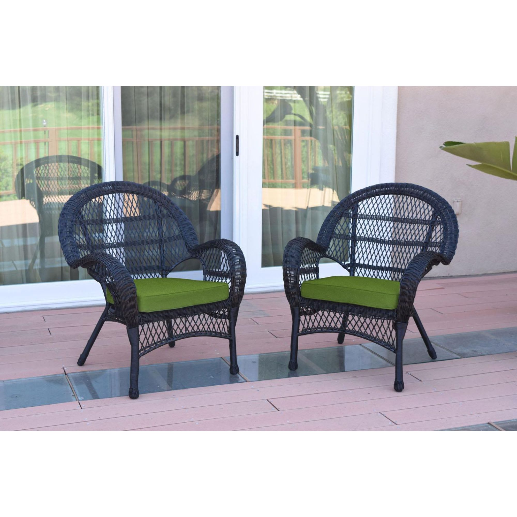2 piece black wicker patio furniture with green cushion 36