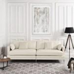 Mobilis Mid Century Modern Plush Leather Match Living Room Sofa White Walmart Com Walmart Com