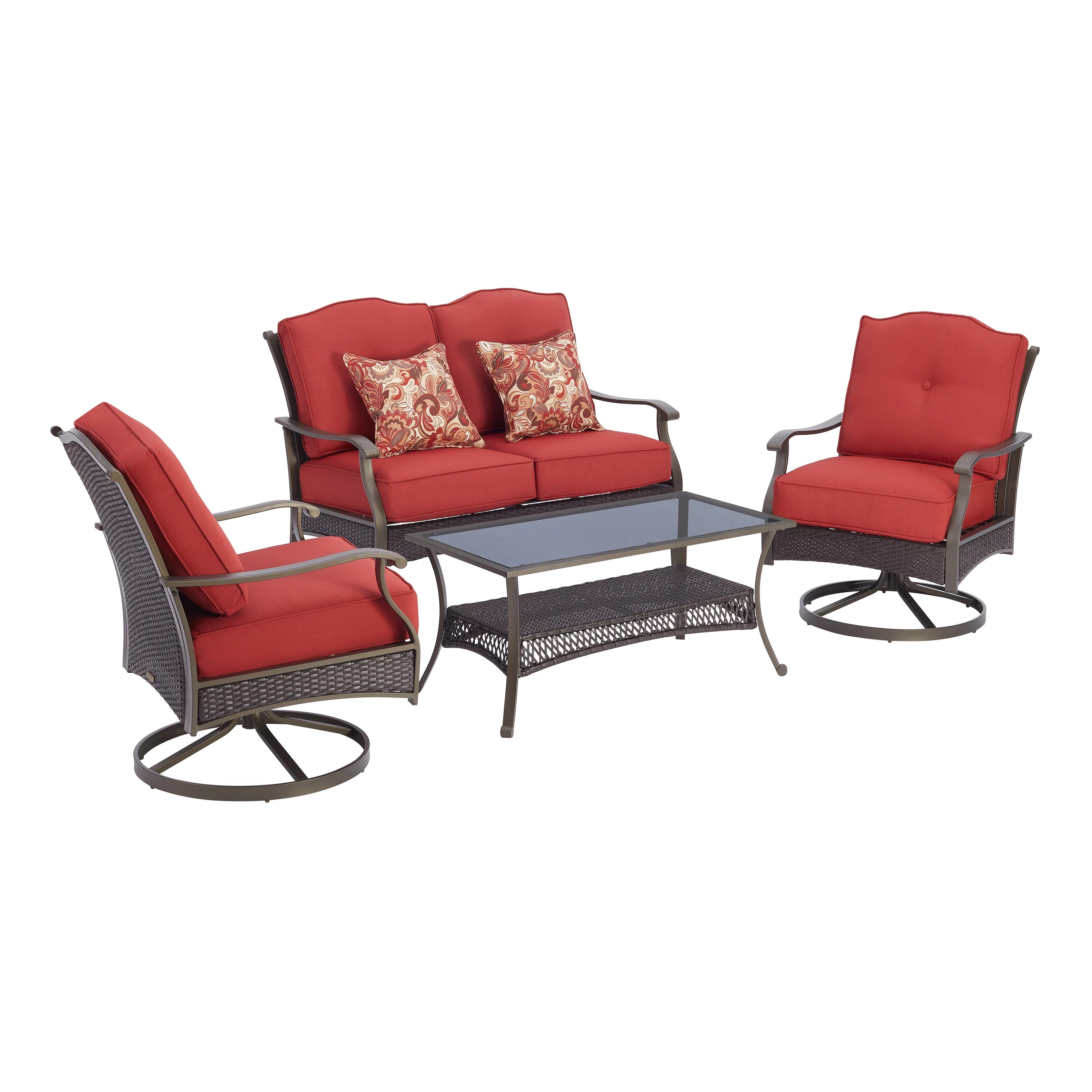 better homes gardens providence 4 piece patio conversation set red
