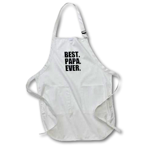 3dRose Best Papa Ever - Gifts for dads - Father nicknames - Good for Fathers day - black text, Medium Length Apron, 22 by 24-inch, With Pouch Pockets