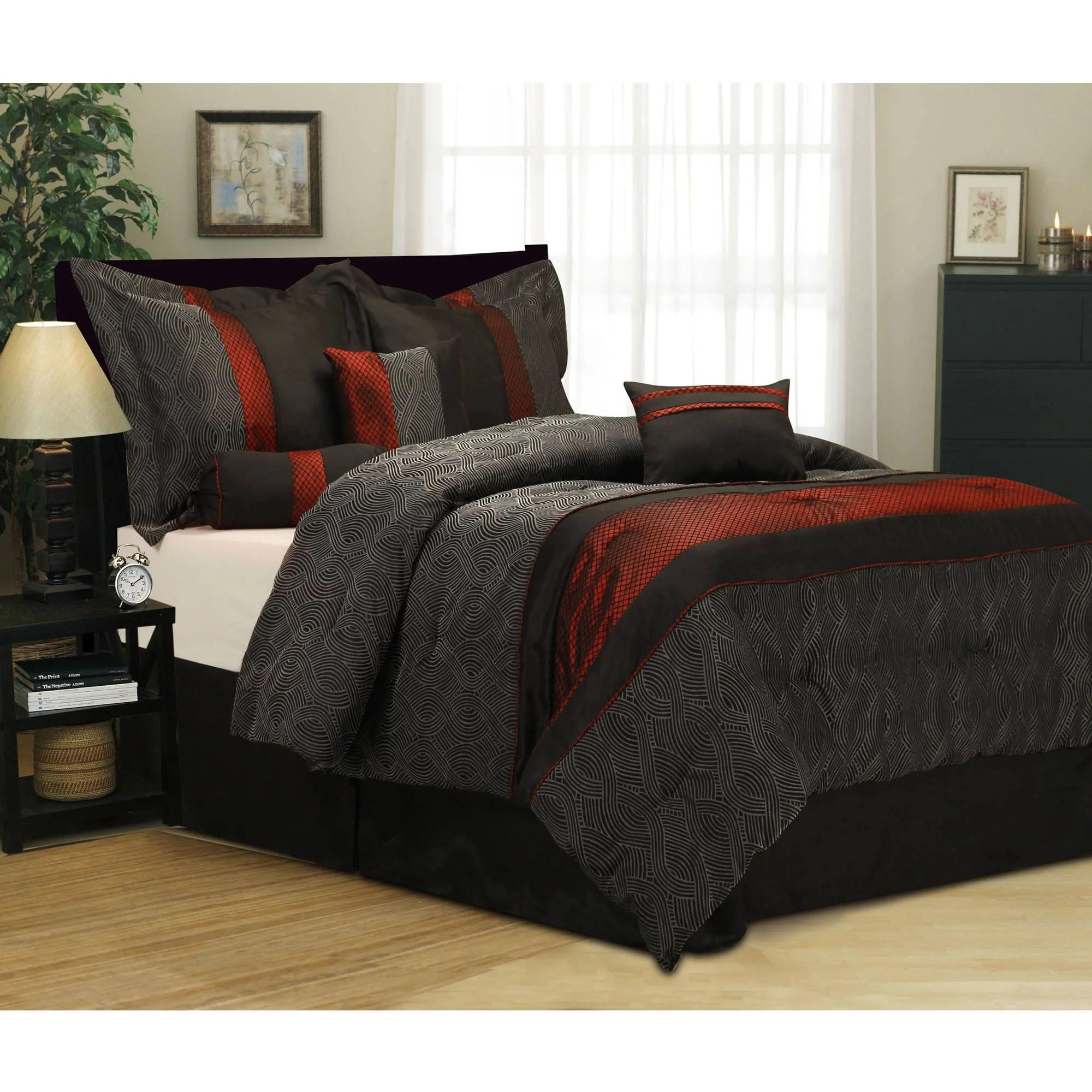 details about 7 piece bedding comforter set queen size black red shams pillows bedskirt room