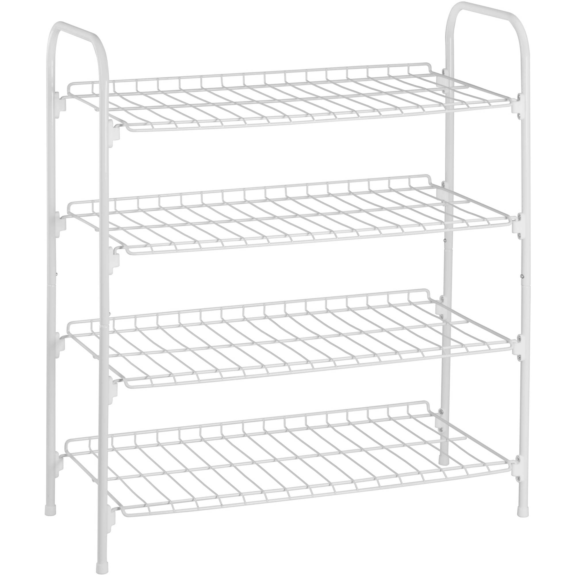 Shoe Rack Accessory Shelf 4 Tier Metal Closet Storage