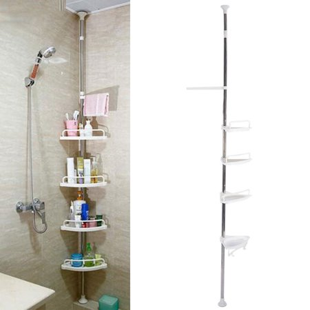 tbest bathroom corner shelves 4 tier adjustable telescopic shower shelf corner rack stainless steel vertical standing shower caddy shelving unit
