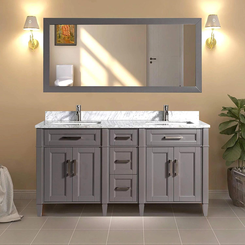 vanity art 60 double sink bathroom vanity combo set 5 drawers 2 shelves carrara marble stone top under sink cabinet with mirror
