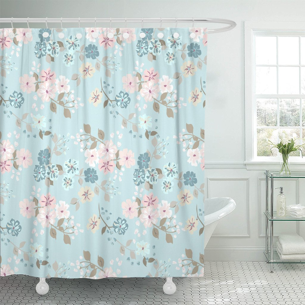 bsdhome simple cute pattern in small scale flowers shabby chic shower curtain 60x72 inches