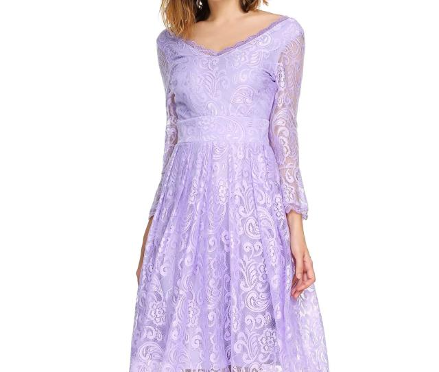 Hot Salesuper Sexy Women Casual 3 4 Flare Sleeve Floral Lace Sexy V Neck Cocktail Evening Dress 4 Color In Totalsppyy Walmart Com