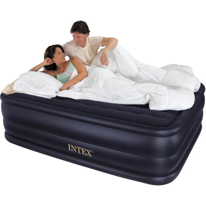 Intex Queen 22 Raised Downy Airbed Mattress With Built In Electric Pump