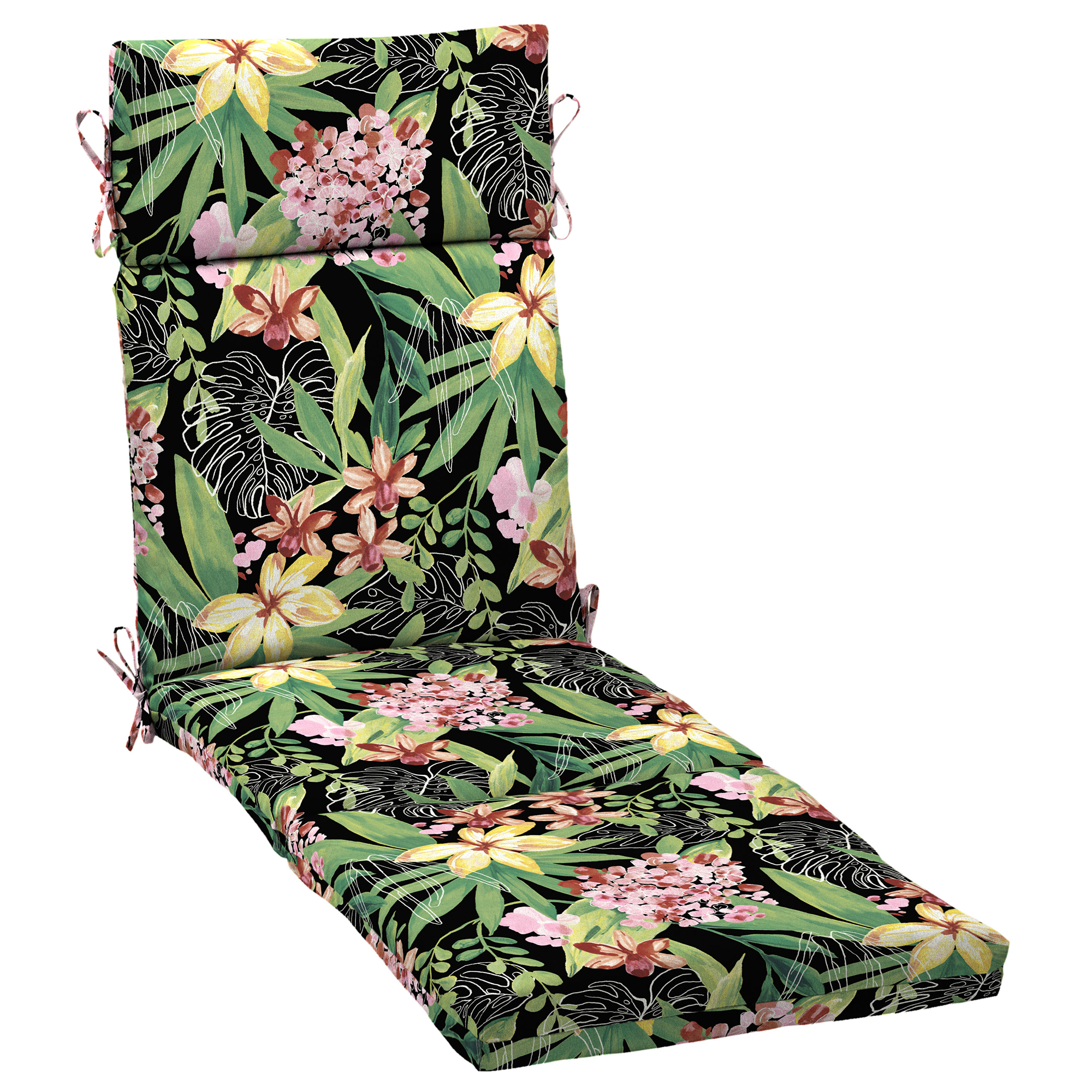 better homes gardens black tropical 72 x 21 in outdoor chaise lounge cushion with enviroguard