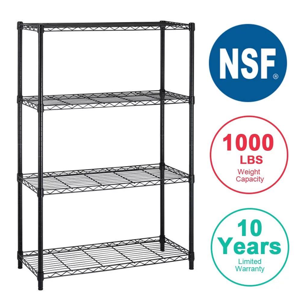 4shelf wire shelving unit garage nsf wire shelf metal storage shelves heavy duty height adjustable for 1000 lbs capacity black