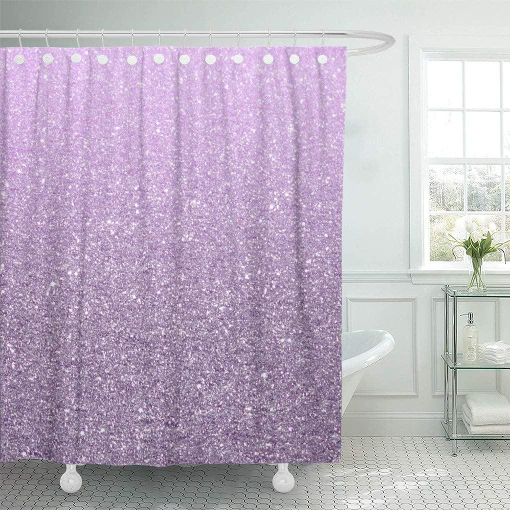 cynlon purple sparkle girly lavender pattern cute modern violet bright bathroom decor bath shower curtain 66x72 inch