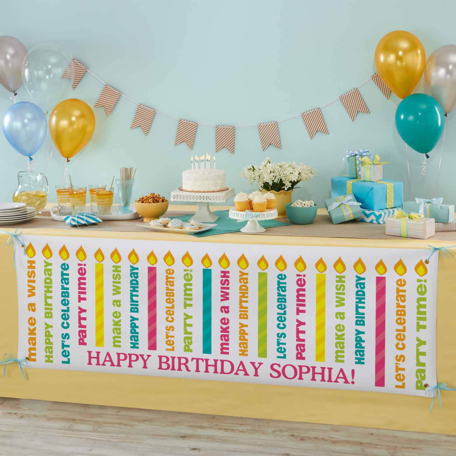 Personalized Light The Candles Birthday Banner - Walmart.com