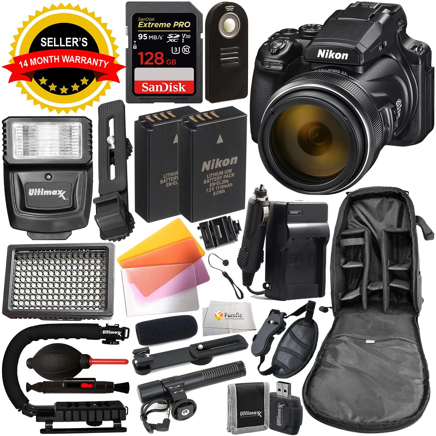 Nikon COOLPIX P1000 Digital Camera with Deluxe Accessory Bundle – Includes: SanDisk Extreme PRO 128GB SDXC UHS-I Memory Card, Extra Battery, Digital Slave Flash & MUCH MORE