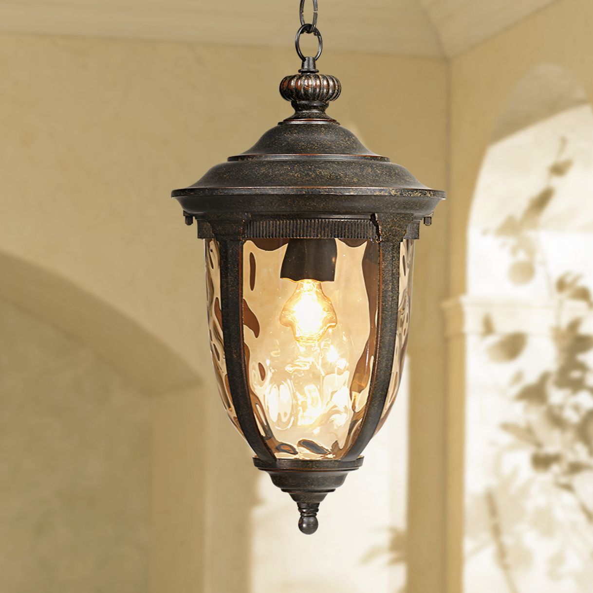 john timberland rustic outdoor ceiling light bronze 18 hammered glass for exterior entryway proch walmart com
