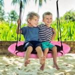 Goplus 40 Flying Saucer Tree Swing Indoor Outdoor Play Set Kids Christmas Gift Bluegreen Pink Walmart Com Walmart Com