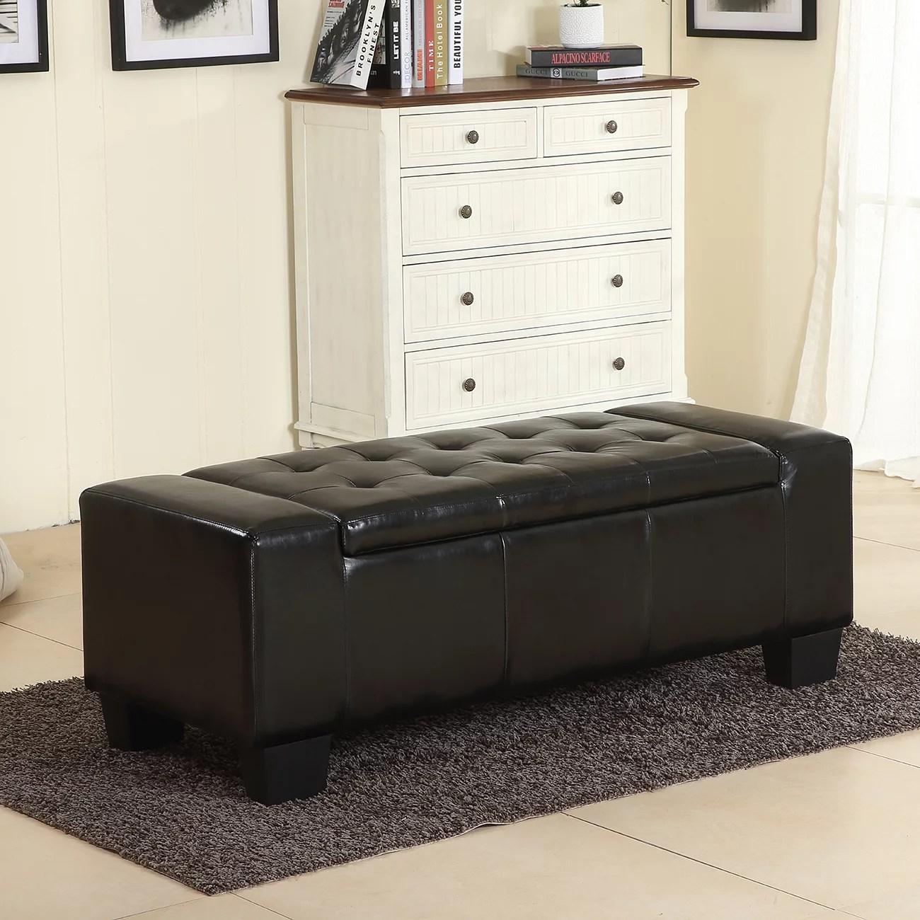 Belleze 51 Quot Storage Ottoman Bench Black Faux Leather Large