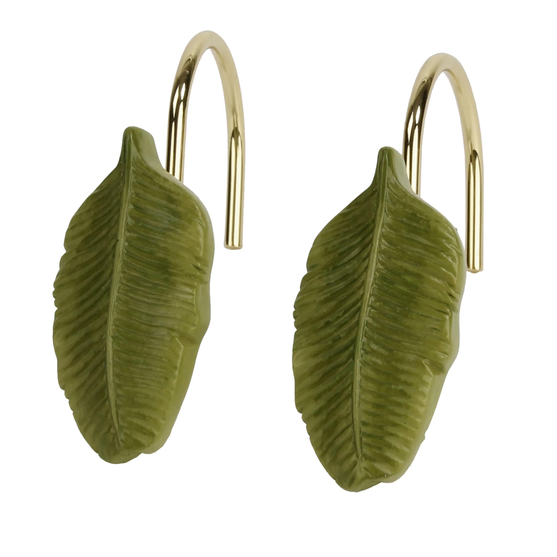 better homes gardens tropical leaves shower curtain hooks 12 piece walmart com