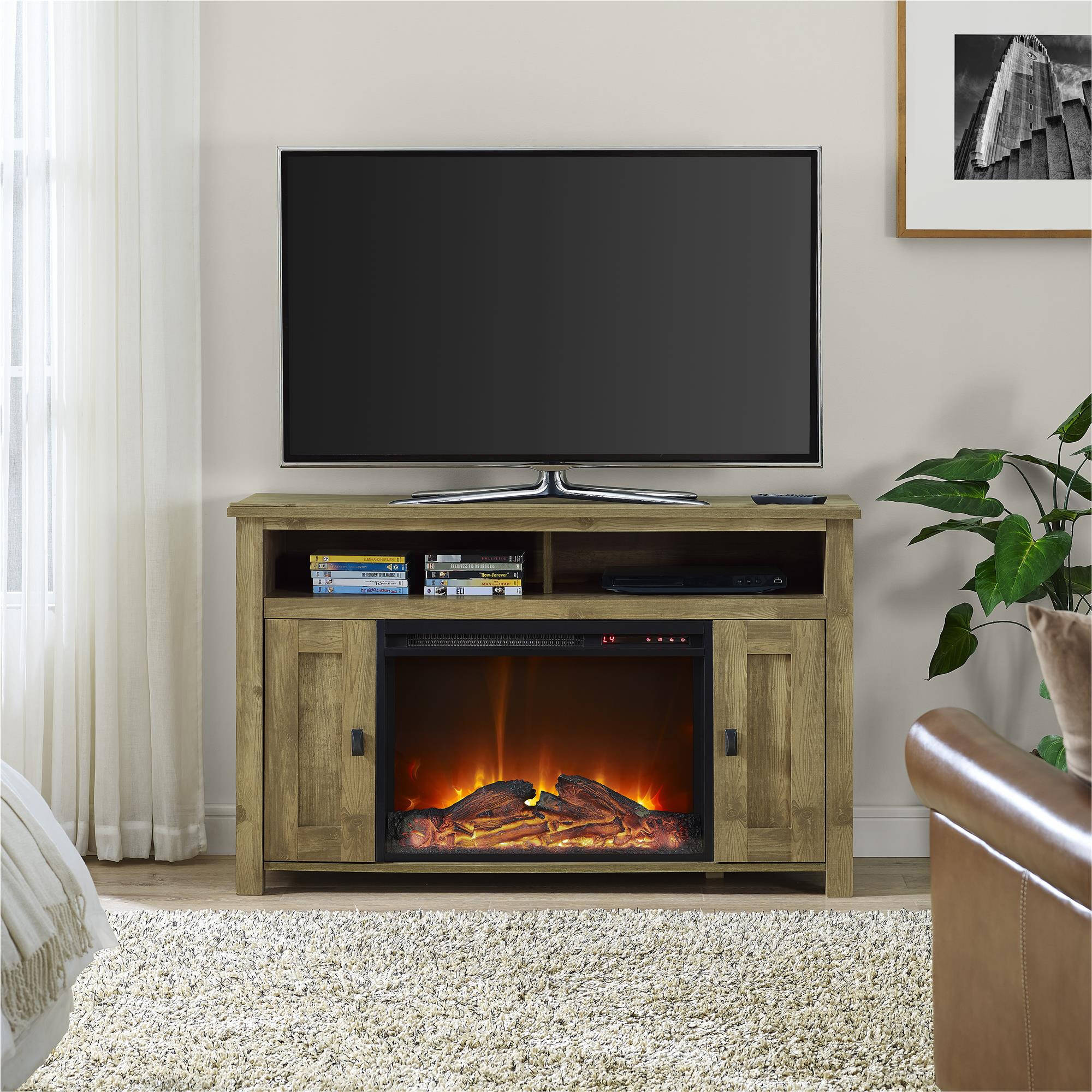 50 Inch Tv Stand With Fireplace Media Console Electric