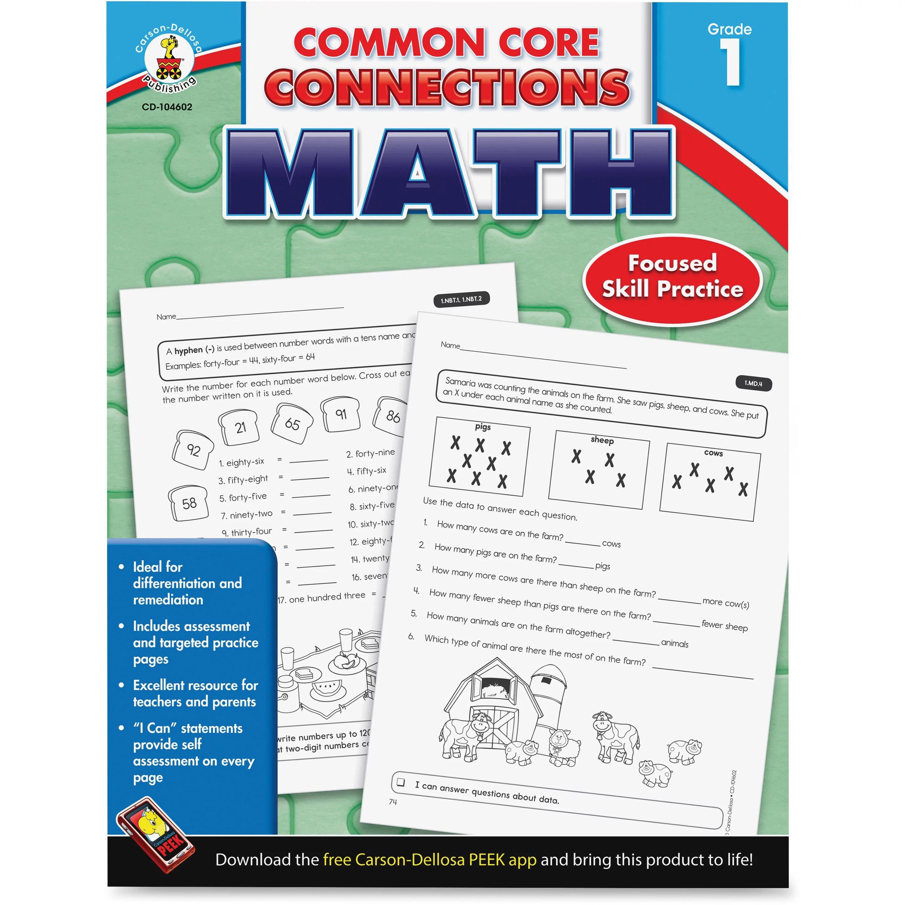 Carson Dellosa Common Core Connections Grade 1 Math