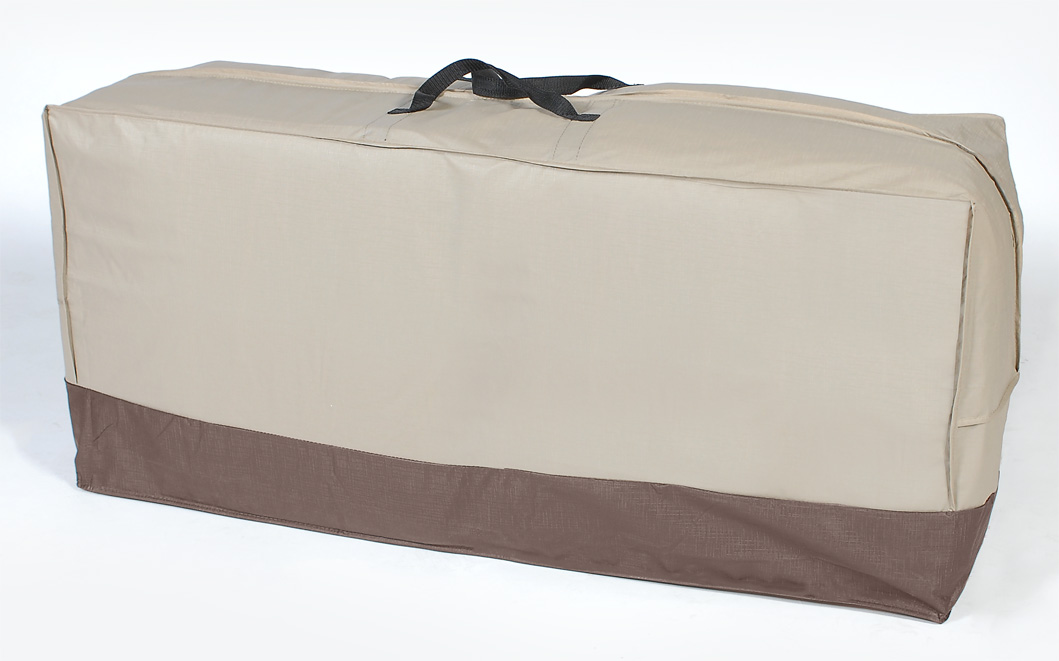 48 taupe and brown outdoor patio chair cushion storage bag
