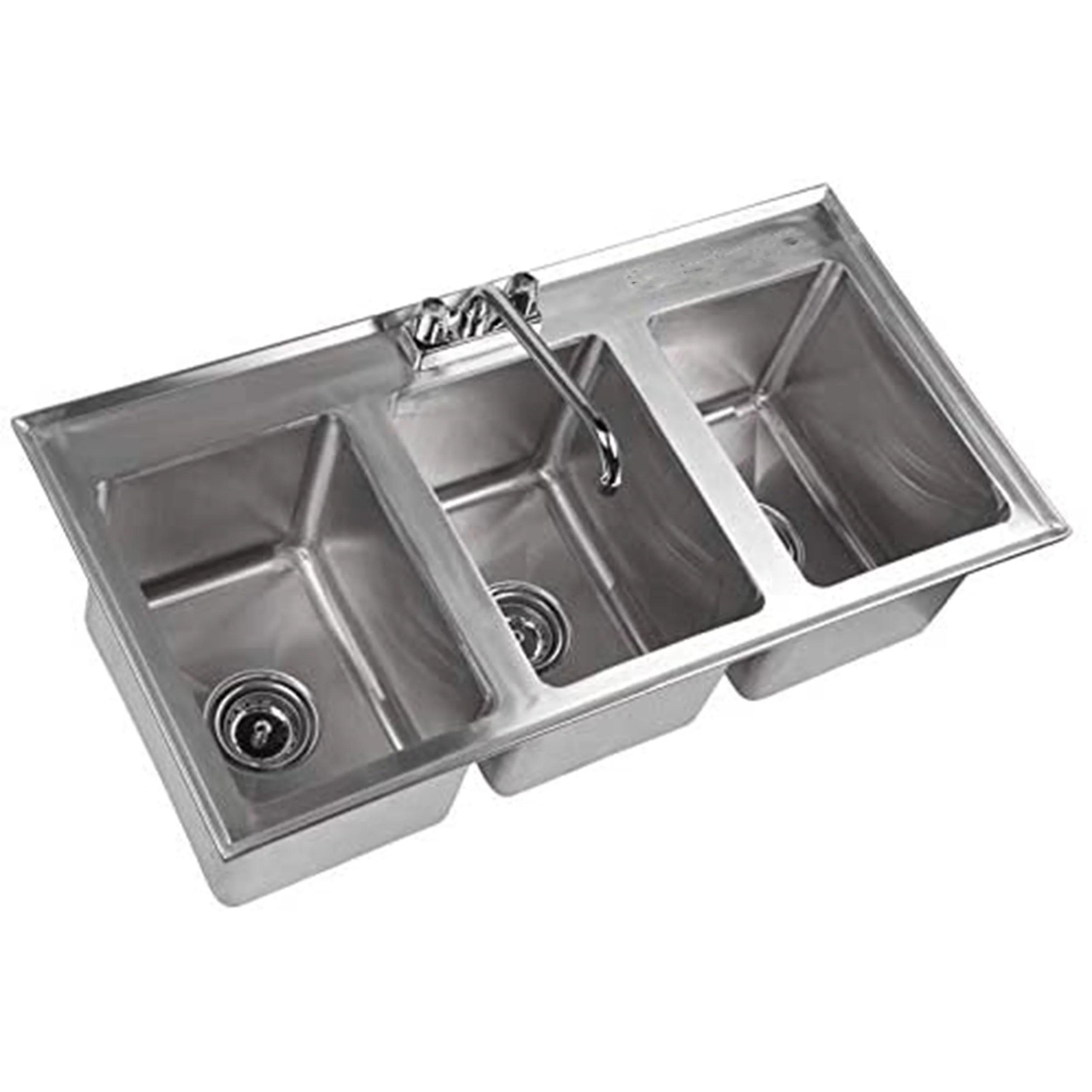 3 compartment 37 l x 19 w stainless steel kitchen drop in sink 10 x 14 x 10 stainless steel 3 compartment drop in sink walmart com