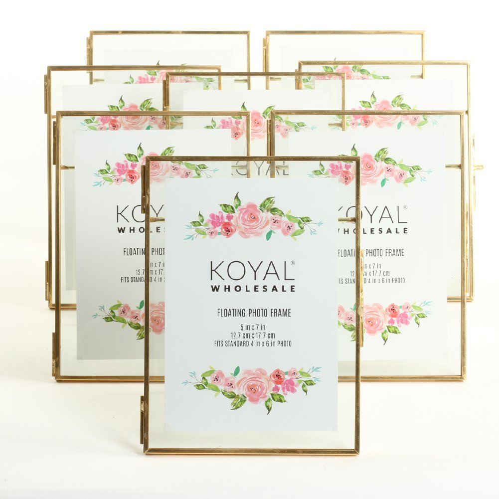 koyal wholesale pressed glass floating photo frames 5 x 7 frame gold 8 pack with stands use horizontal or vertical walmart com