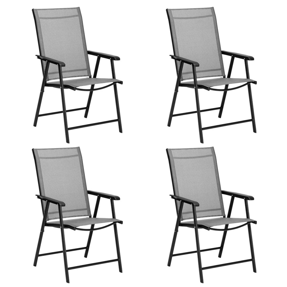 uhomepro outdoor folding sling chairs set of 4 portable patio folding chairs patio furniture camping pool beach chairs with armrest metal frame