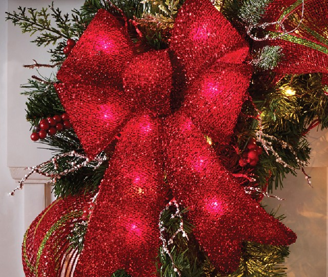 Holiday Time Christmas Decor Indoor Outdoor Lighted Red Tinsel Bows  Pack Walmart Com