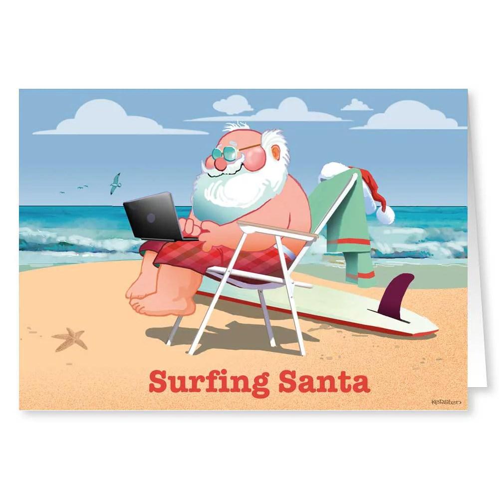 Surfing Santa Beach Theme Christmas Card Funny Holiday
