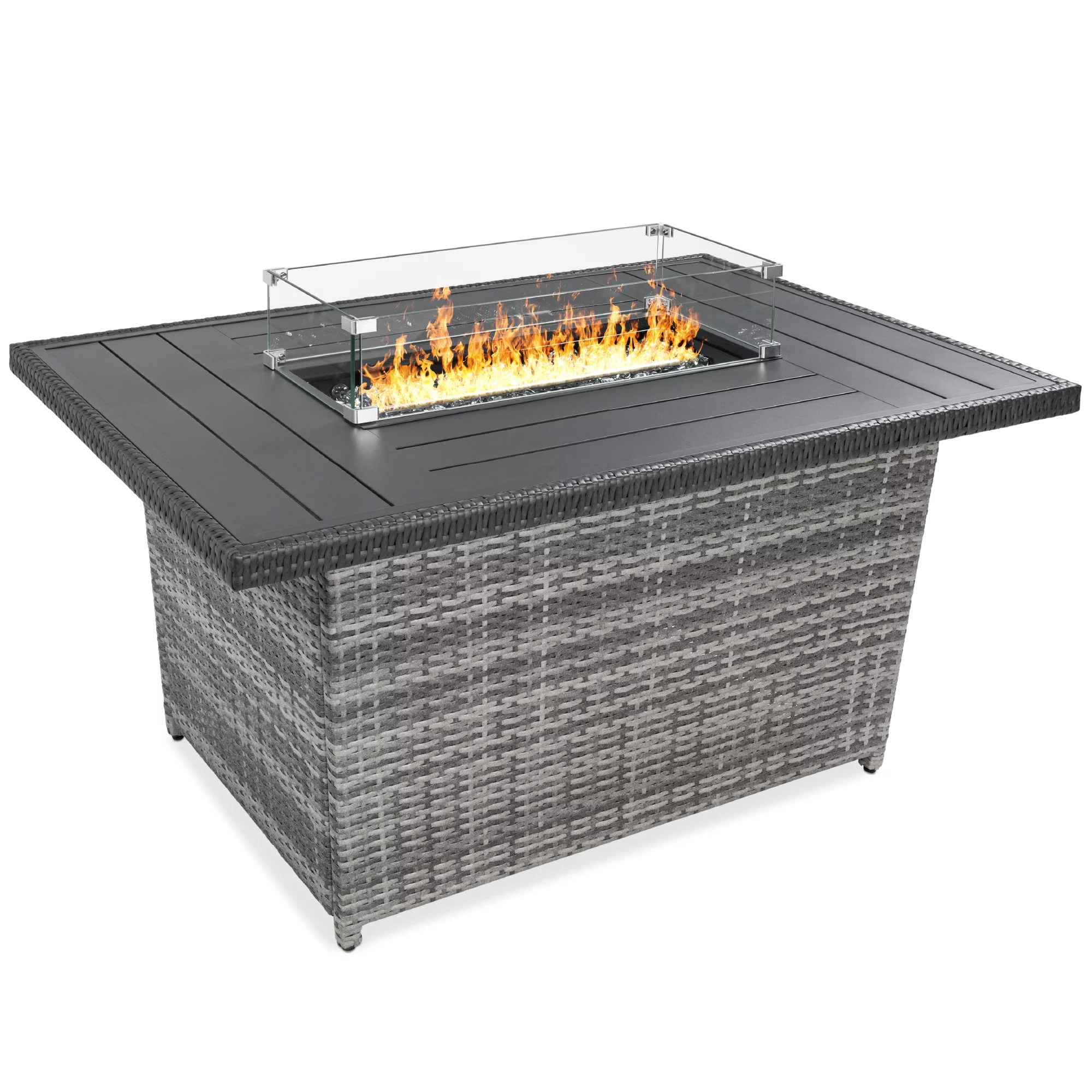 best choice products 52in outdoor wicker propane fire pit table 50 000 btu w glass wind guard tank holder cover gray