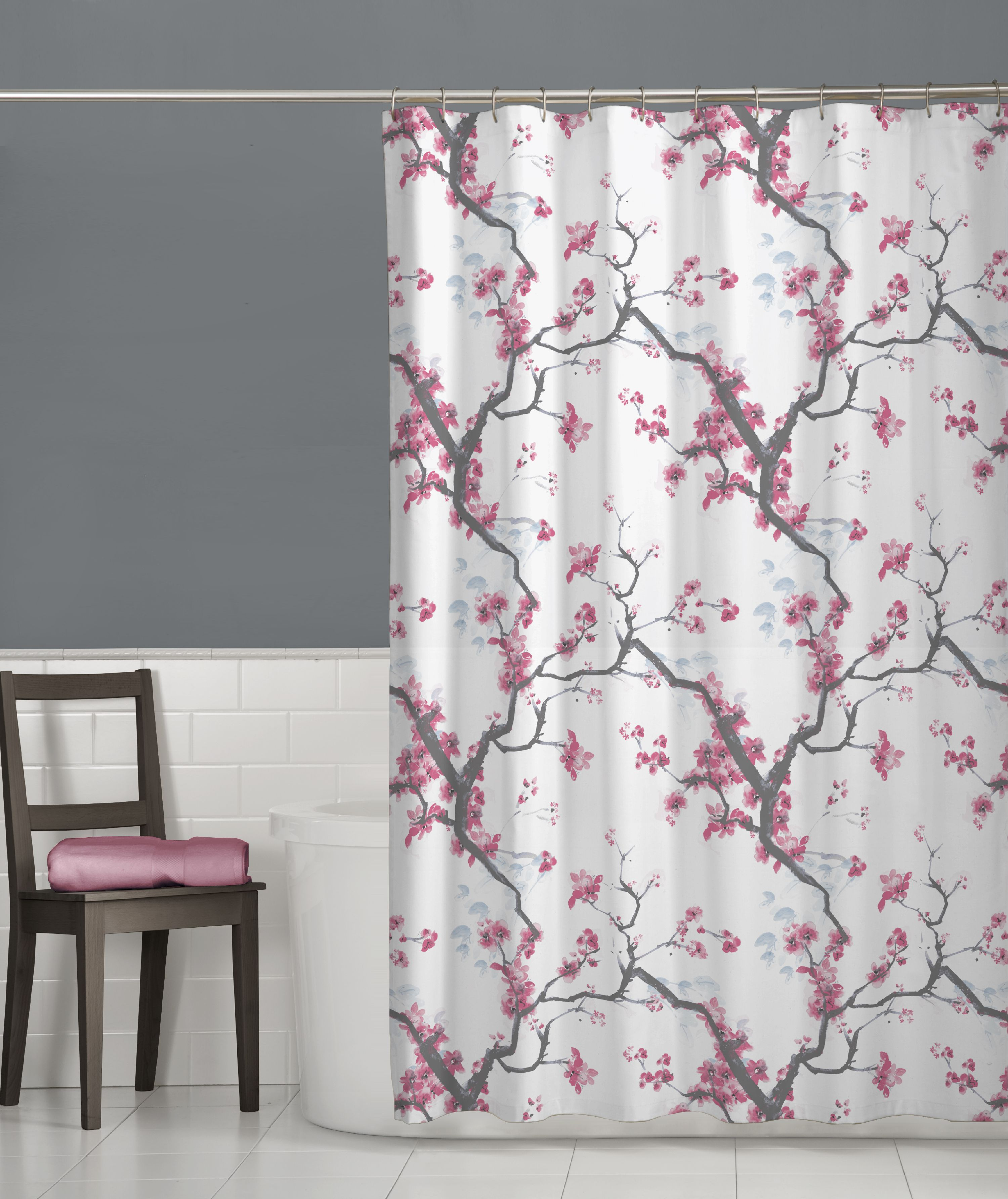 Maytex Cherry Blossom Floral Fabric Shower Curtain Pink