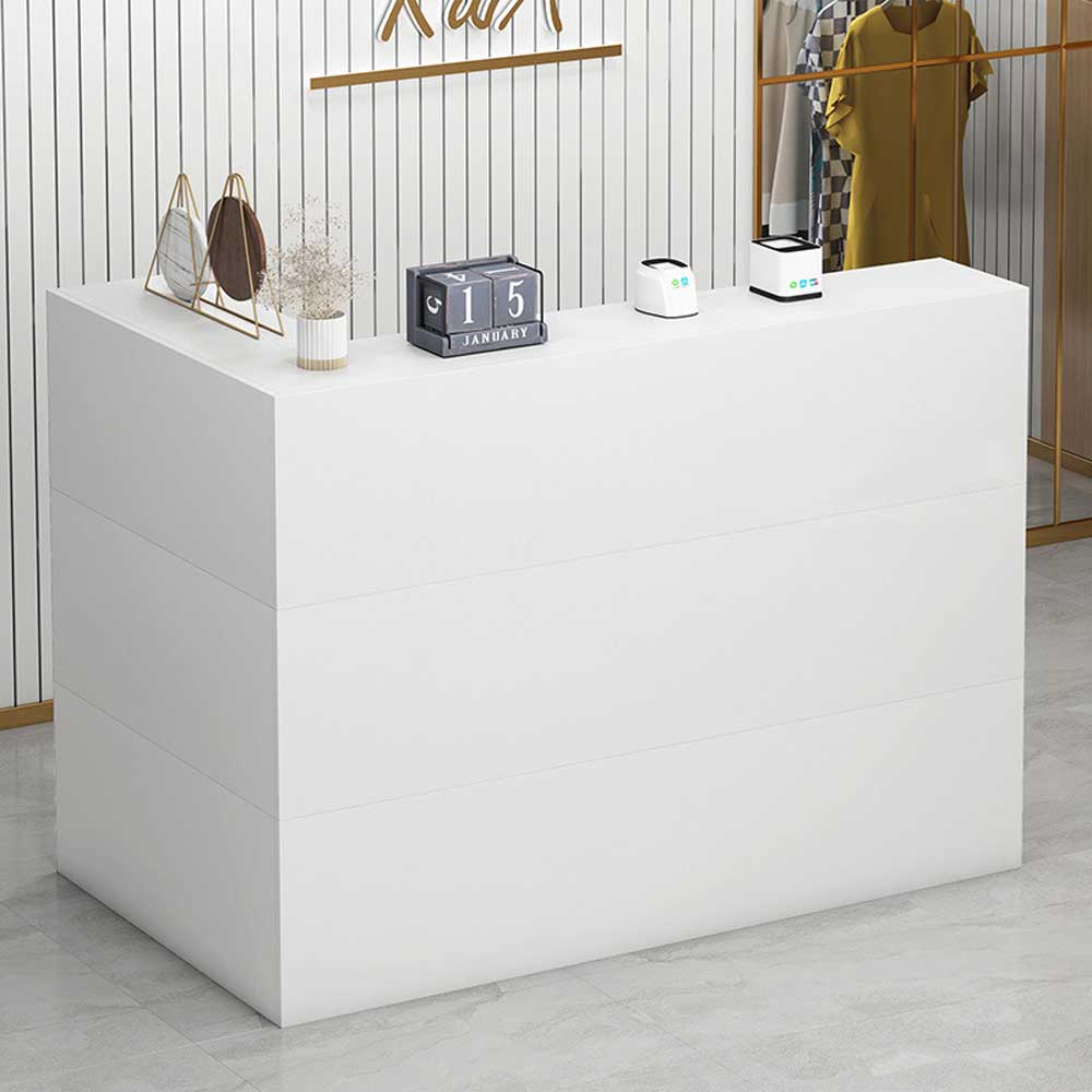 kerrogee 48 reception desk l shape reception counter wrap around reception station with lockable drawers white