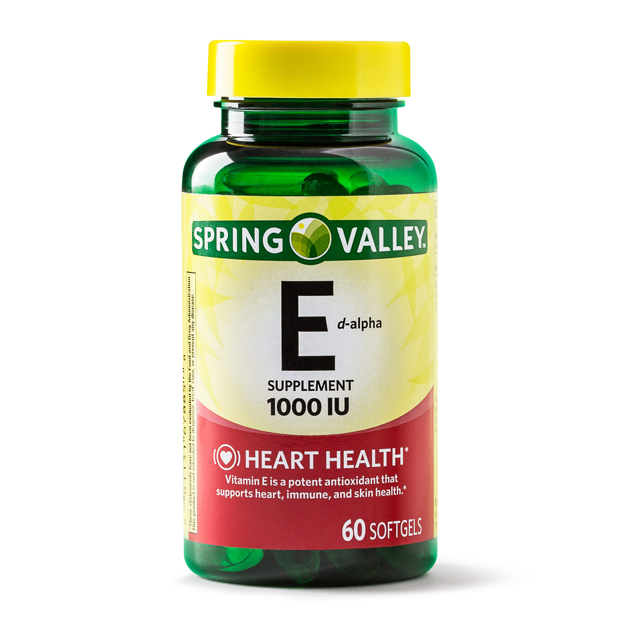 Spring Valley Vitamin E Softgels, 1000IU, 60Ct