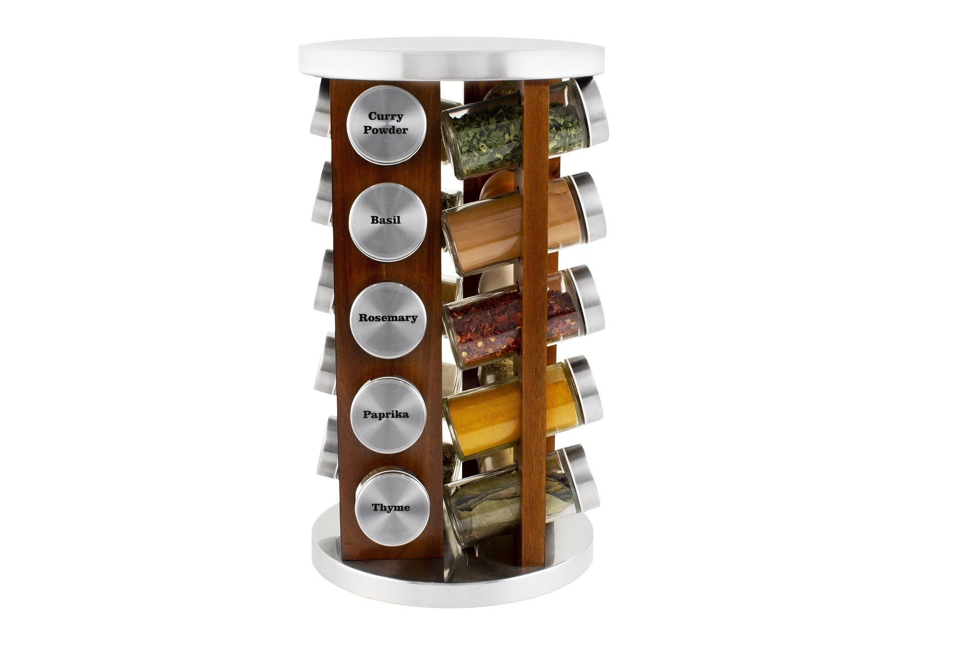 orii 20 jar acacia wood spice rack dark stain filled with spices