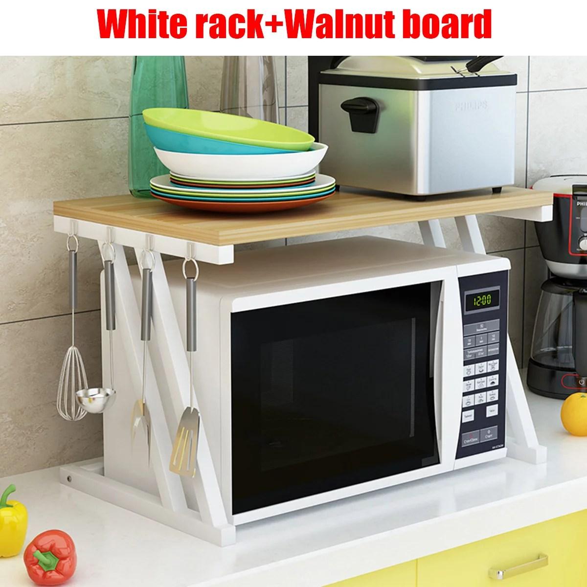 2 tiers 22 x 15 x 15 modern multi functional display walnut bakers rack microwave stand rolling kitchen storage steel rack wood board