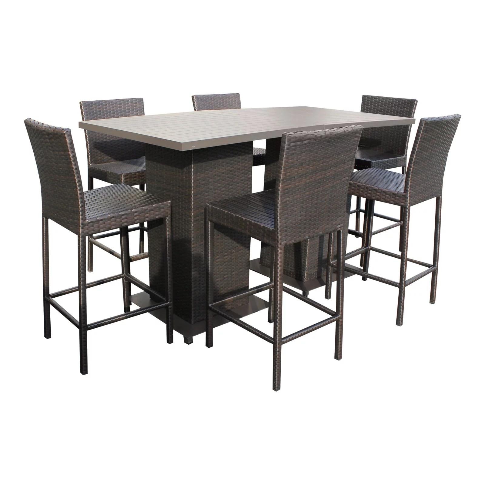 tk classics napa wicker 8 piece outdoor pub table set