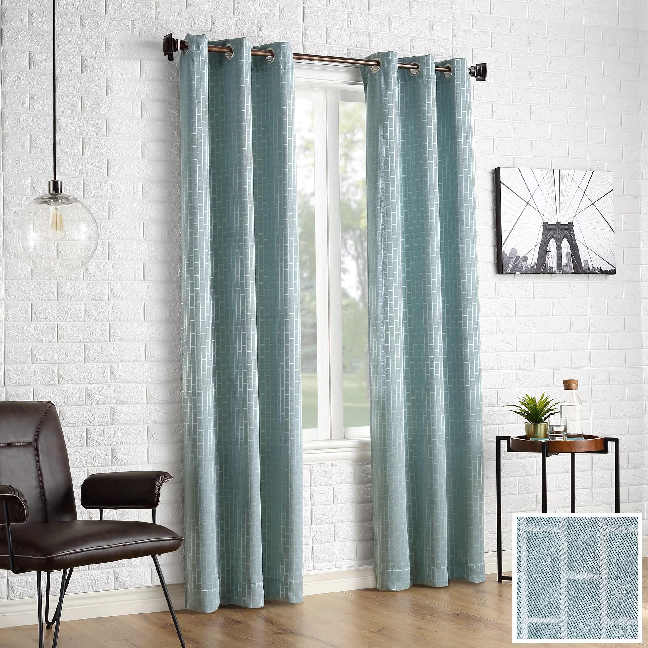 sun zero 2 pack stockton tile jacquard blackout grommet curtain panel pair