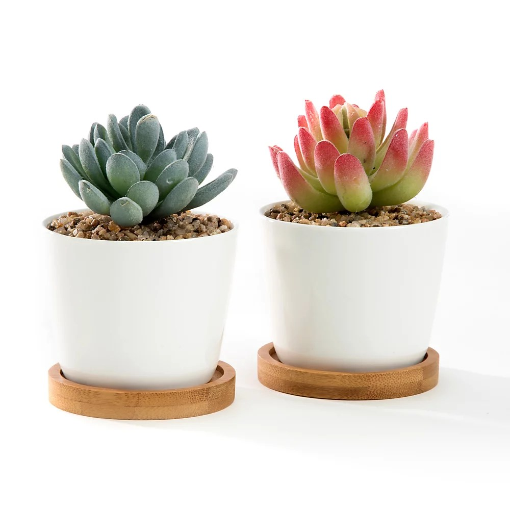 3 5 White Oval Ceramic Succulent Plant Pot Cactus Plant Pot With Bamboo Tray Set Of 2 Walmart Com Walmart Com