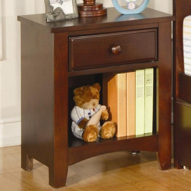 Coaster Furniture Parker Nightstand with Drawer and Shelf - Chestnut