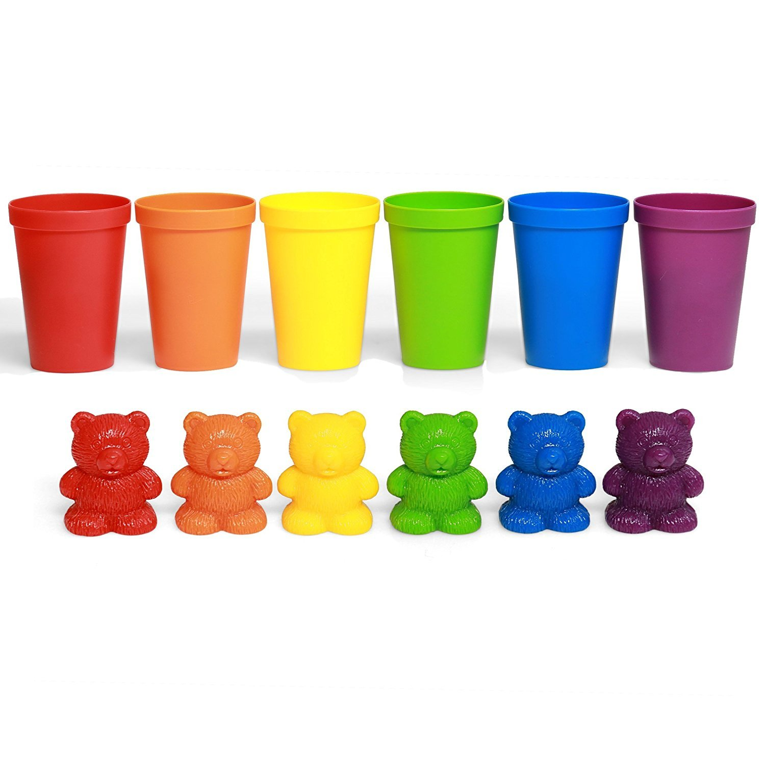 72 Rainbow Colored Counting Bears With Cups For Children