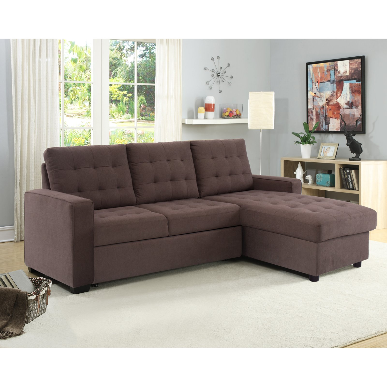 Bostal Serta Sofa Bed Convertible Converts Into A Sofa Chaise Bed And Storage Under The Chaise Walmart Com Walmart Com