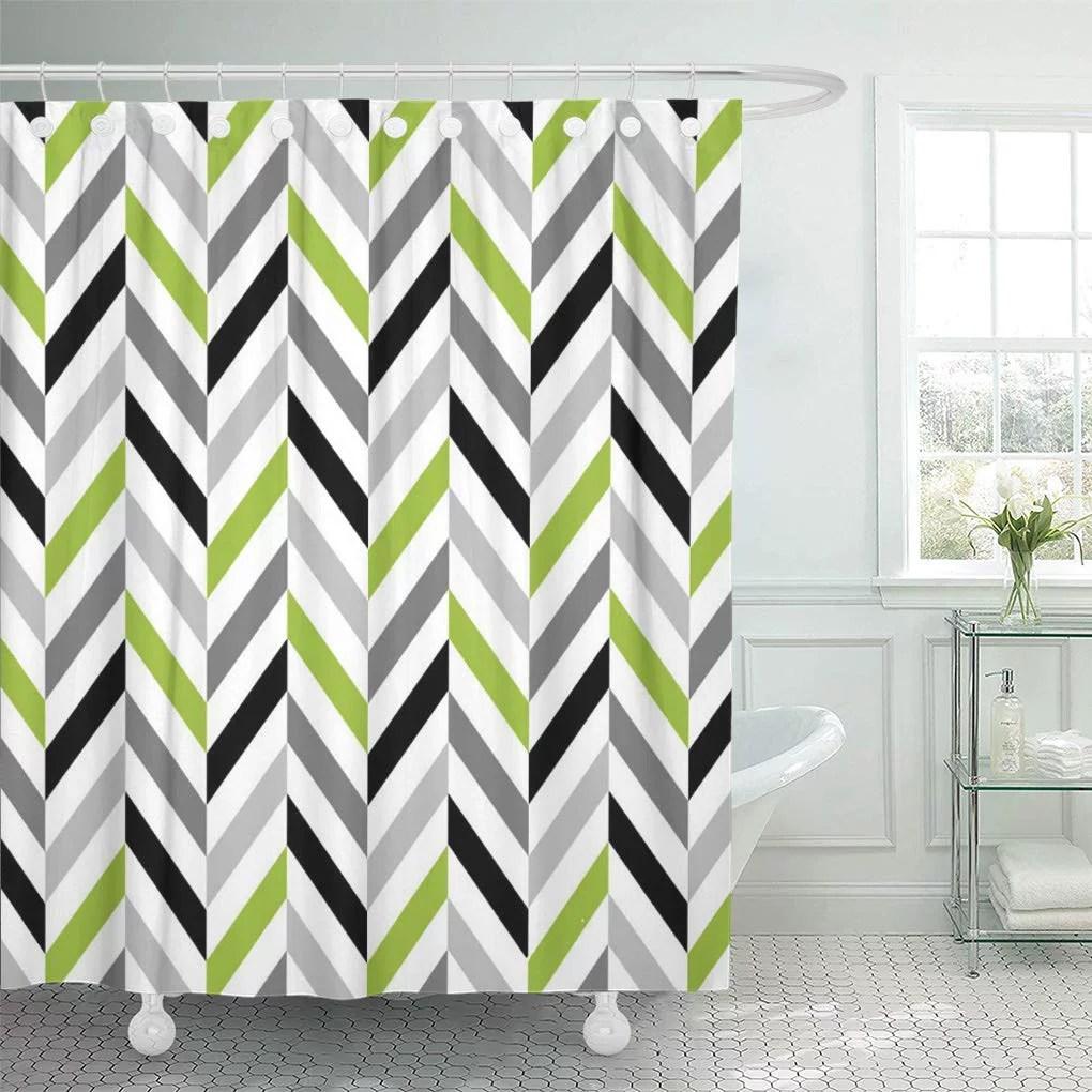 yusdecor pattern modern lime green gray black herringbone geometric grey bathroom decor bath shower curtain 66x72 inch