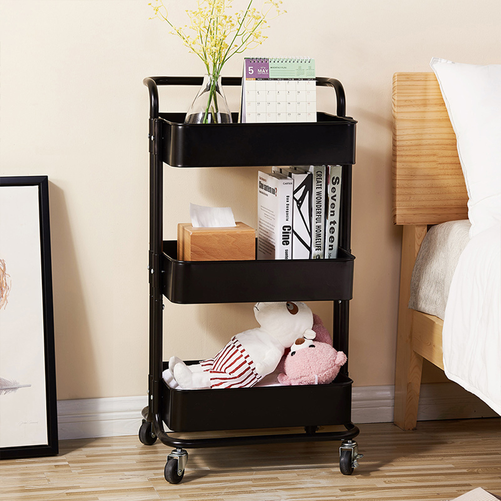 3 tier kitchen cart removable storage rack with handle and baskets rolling steel storage organizer shelves on wheels multifunction utility cart