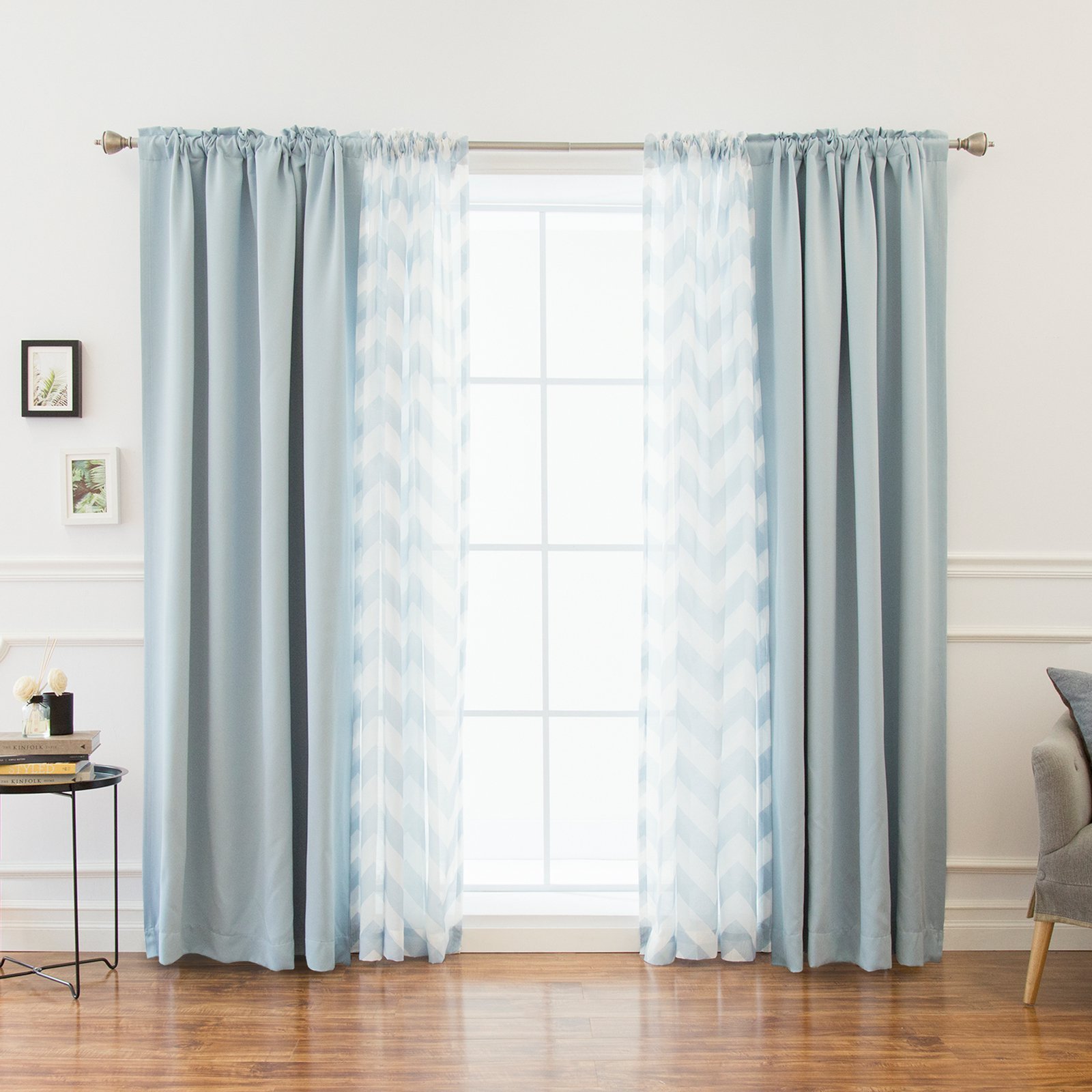 Best Home Fashion Chevron Sheer And Solid Blackout Mix And Match Curtains