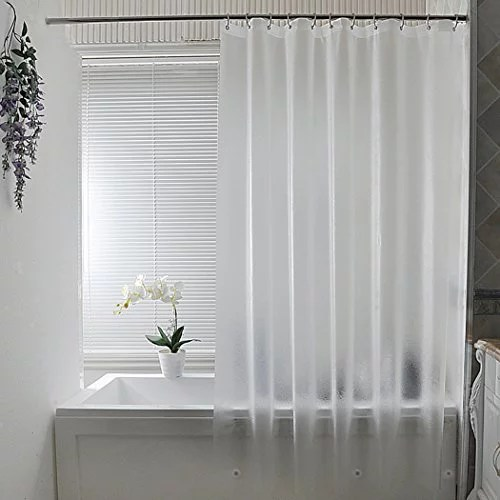 aoohome 36 x 72 inch stall size shower curtain liner eva shower curtain frosted pattern with 2 bottom magnets heavy duty semi transparent