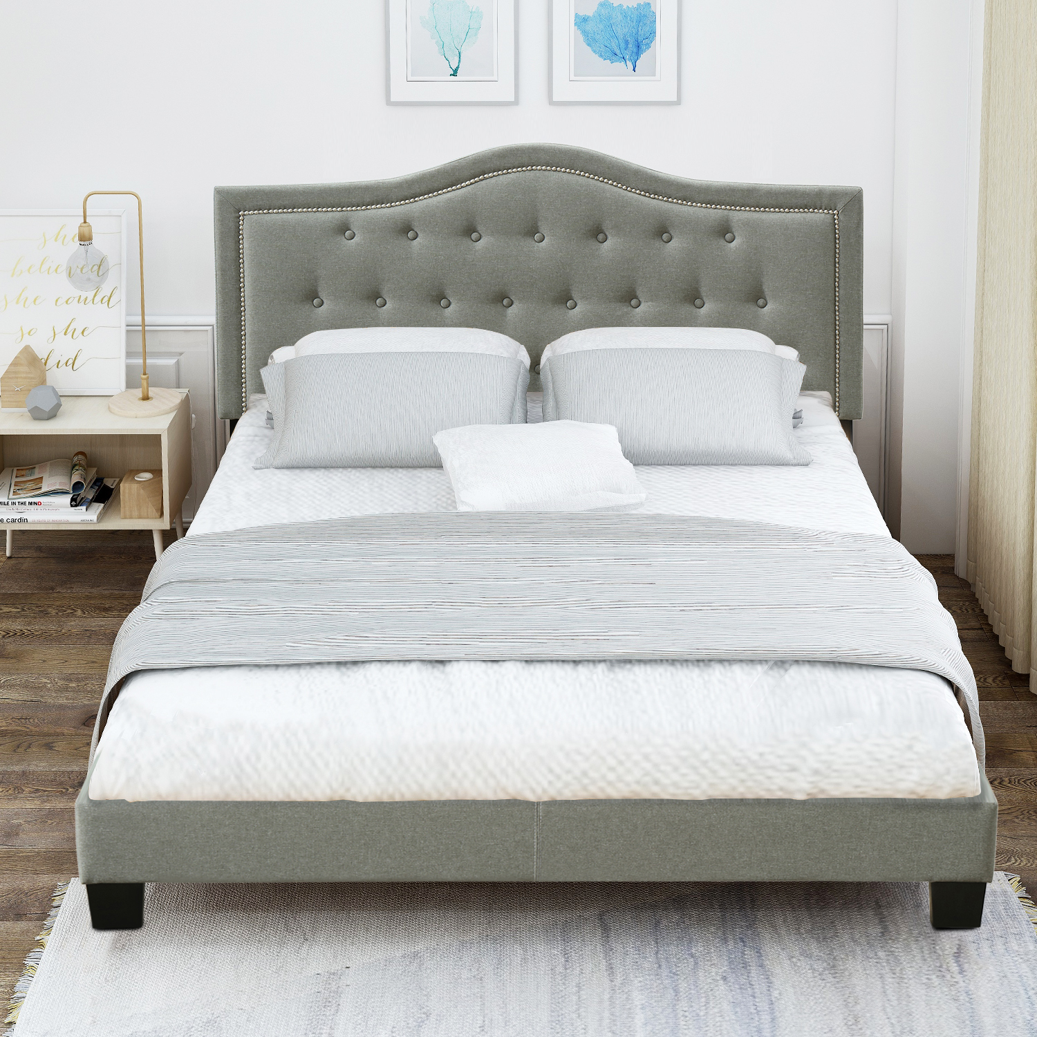 clearance queen platform bed frame with headboard modern on walmart bedroom furniture clearance id=93499