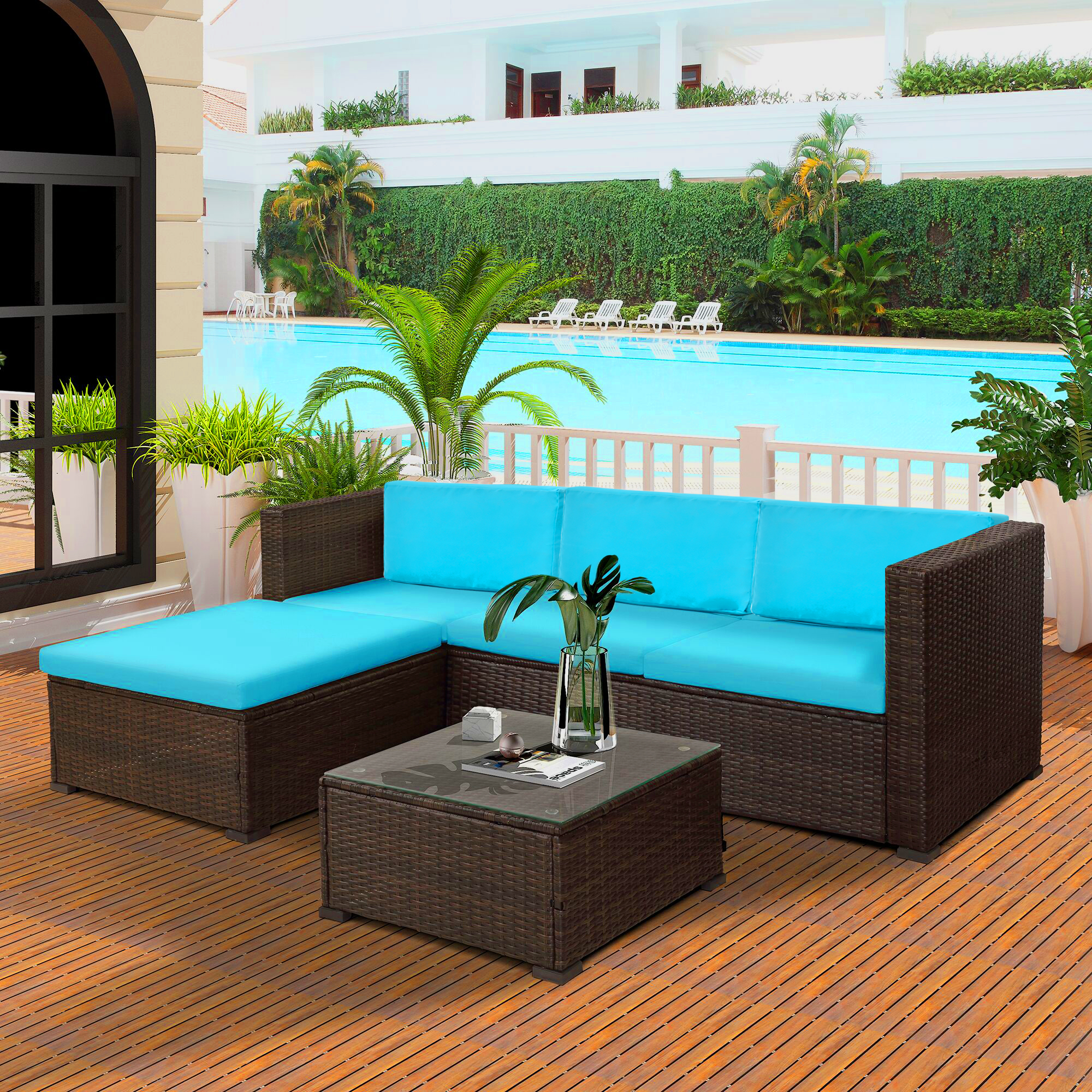 Merax 5-Piece Outdoor Rattan Patio Wicker Sectional Set ... on 5 Piece Sectional Patio Set id=79082
