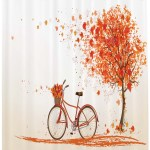 Bicycle Shower Curtain Autumn Tree With Aged Old Bike And Fall Tree November Day Fall Season Park Nature Theme Fabric Bathroom Set With Hooks