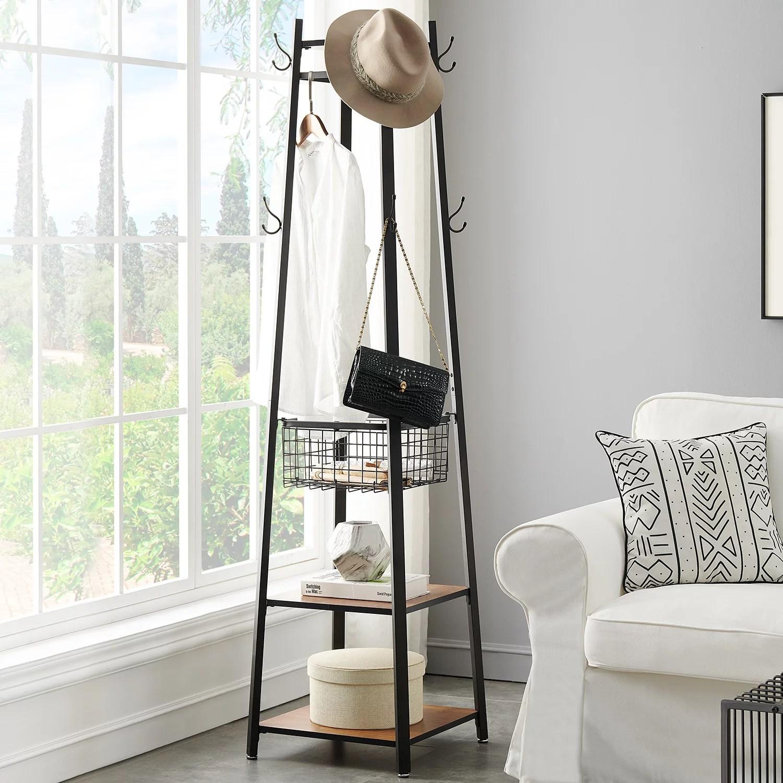 vecelo modern free standing coat rack tree with hooks shelf basket floor coat hanger stand office home red brown walmart com
